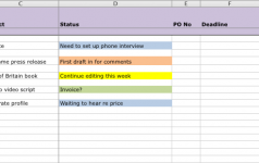 A simple project spreadsheet for freelancers