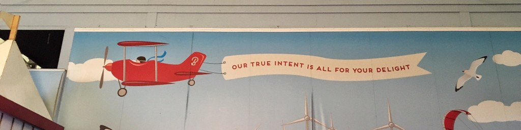 'Our true intent is all for your delight' – mural at Butlin's Skegness
