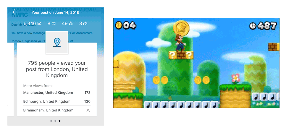 LinkedIn article stats compared with Super Mario World