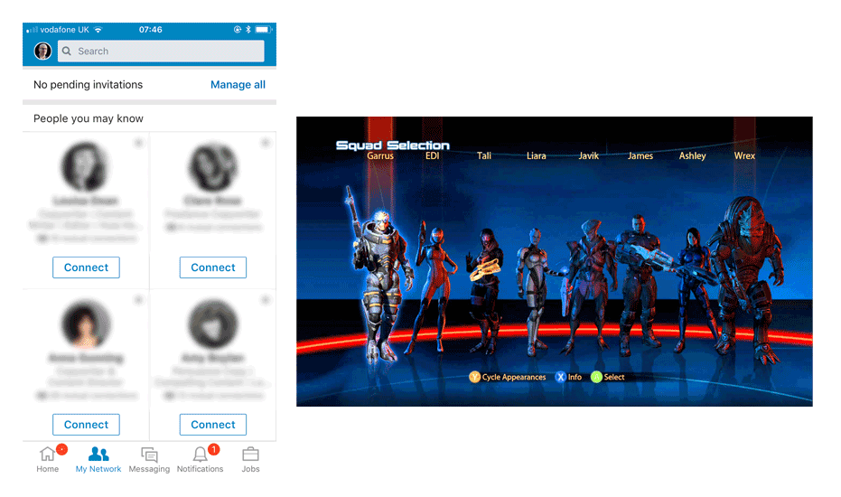 LinkedIn network page compared with squad selection in Mass Effect 3