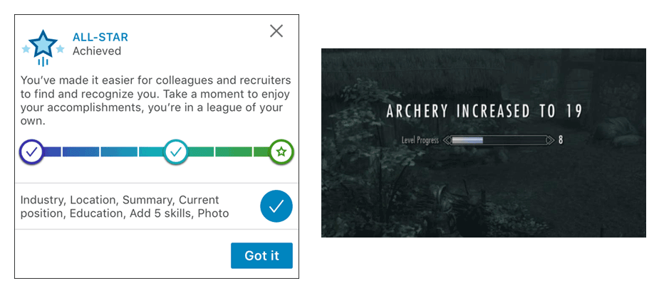 LinkedIn all-star achievement compared with ability increase in Skyrim