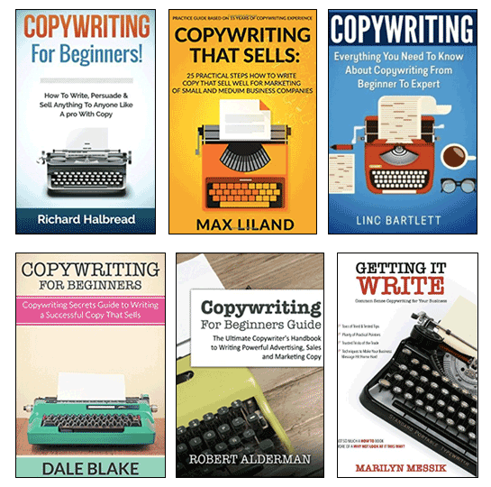 Collage of copywriting book covers featuring typewriters