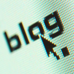 Blog word on screen