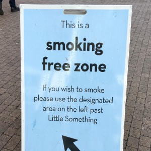 Smoking-free zone sign at Butlin's Skegness
