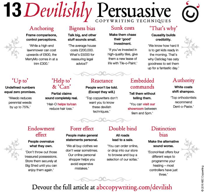 13 Devilishly Persuasive Copywriting Techniques graphic