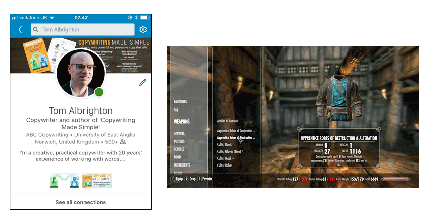 LinkedIn profile page compared with equipping apparel in Skyrim