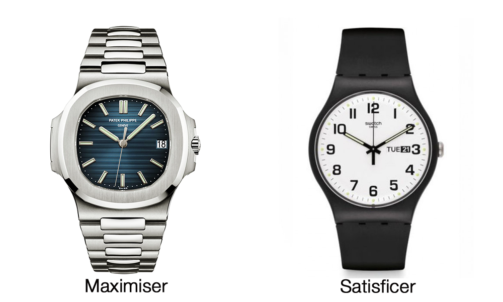 Patek Philippe and Swatch watches side by side
